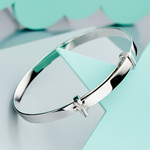 'Honor' Diamond Cross Christening Bangle - children's jewellery