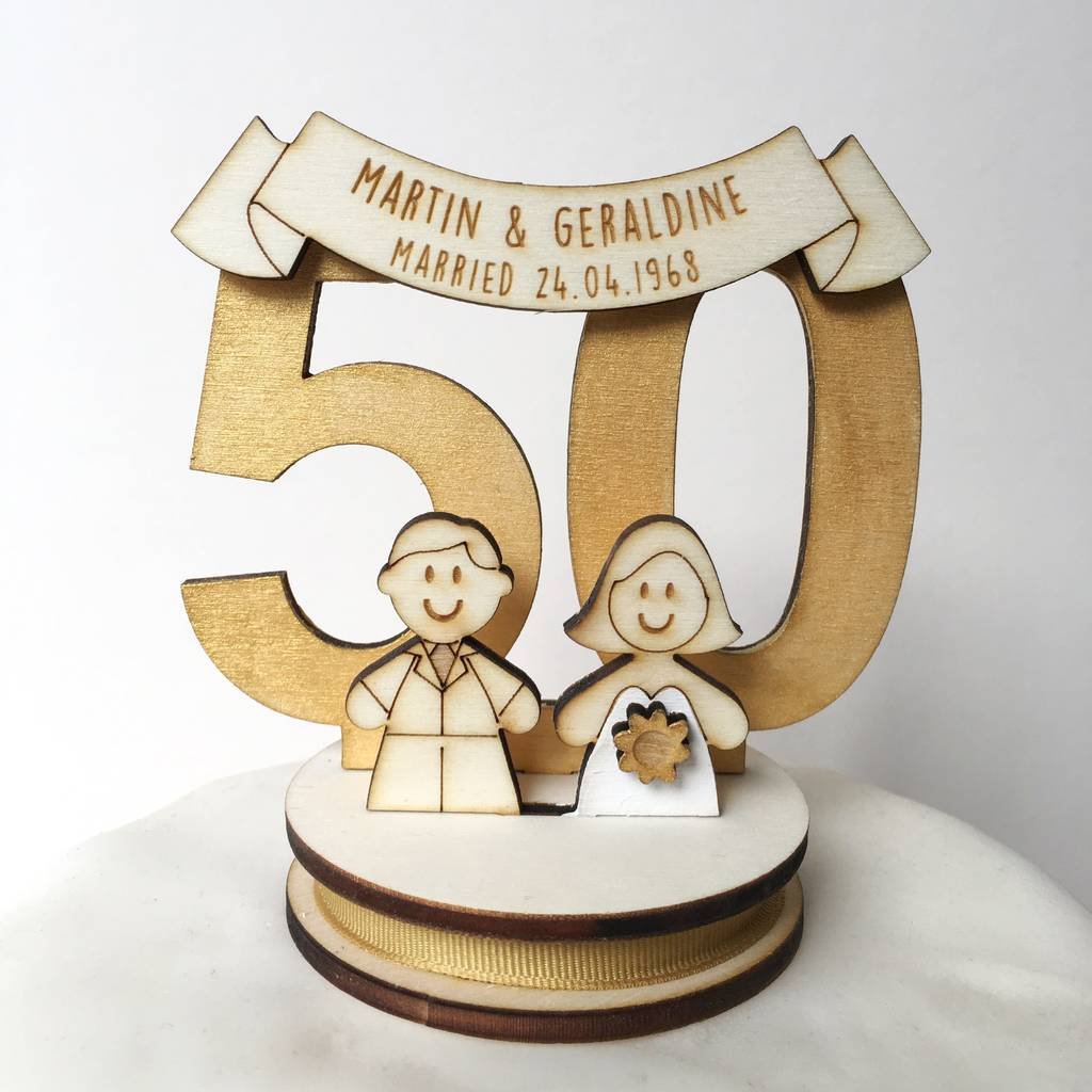 wedding cake toppers for 50th anniversary personalised 50th wedding anniversary cake topper by just 26468