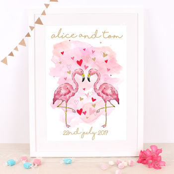 Personalised Flamingo Couple Print