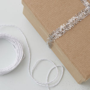 Mini Silver Tinsel Ribbon And Butchers Twine Wrap Kit - wrapping