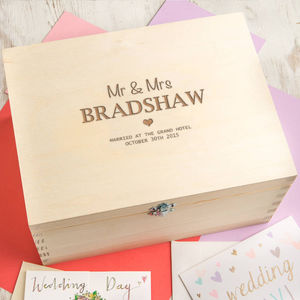 Personalised 'Mr And Mrs' Wedding Memento Box - winter sale