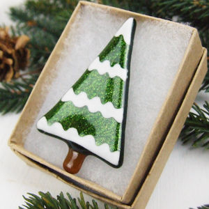 Handmade Glass Snowy Tree Christmas Brooch - pins & brooches