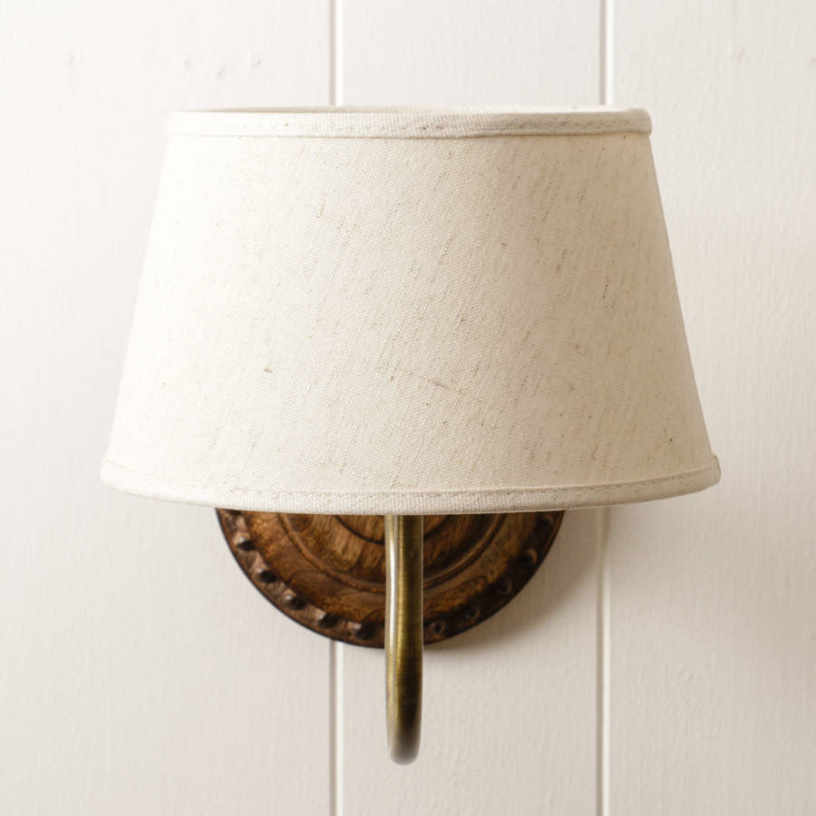Carved wood and brass wall light with linen shade by dibor carved wood and brass wall light with linen shade aloadofball Choice Image