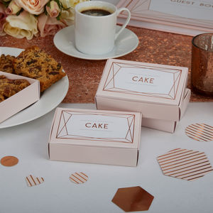 Blush Rose Gold Wedding Cake Boxes