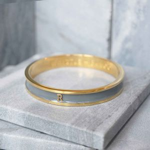 Enamel Alphabet Bangle Gold - bracelets & bangles