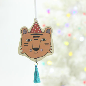 Wooden Tiger Christmas Decoration