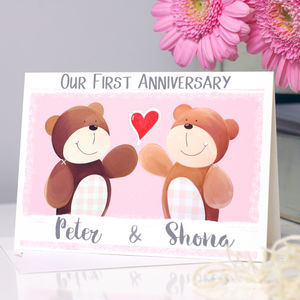 Personalised Bear First Anniversary Card - anniversary cards
