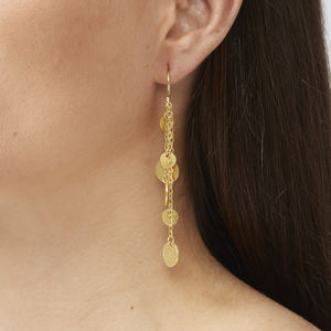 Gold Beaten Coin Boho Earrings