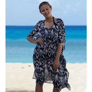 Manilla Beach Kaftan Ikat Black/White