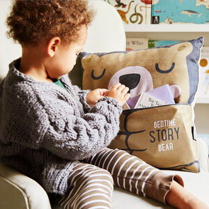 Personalised Bedtime Story Bear Cushion With Pocket