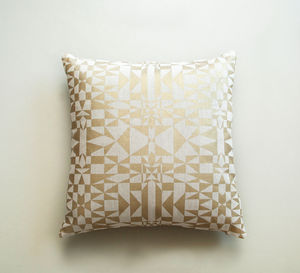 Screen Printed Metallic Gold Cushion