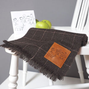 Lambswool Scarf With A Personalised Childs Drawing