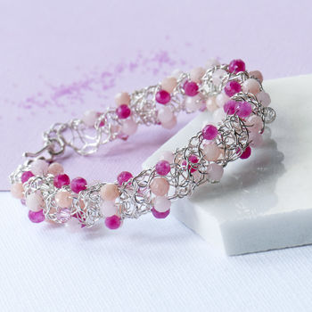 Cherry And Rose Quartz Woven Silver Bracelet