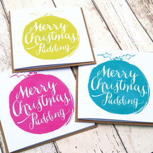 Six Calligraphy Christmas Pudding Cards - summer sale