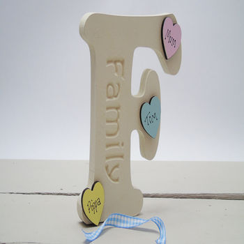 F Is For Family Letter Personalised Hearts