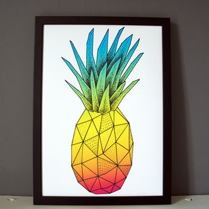 Geometric Pineapple Print - drawings & illustrations