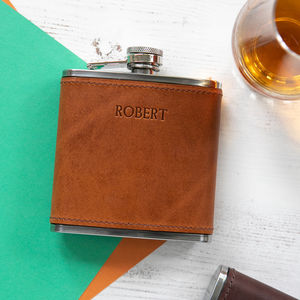 Personalised 6oz Leather Hip Flask - mens