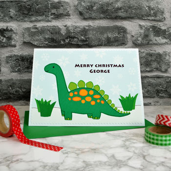 'Dinosaur' Personalised Childrens Christmas Card