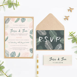 Tropical Pastel Wedding Invitation Bundle - invitations