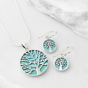 Tree Of Life Healing Gemstone Necklace And Earring Set - sale