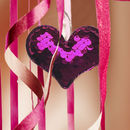 Three Reversible Sequin Heart Decorations