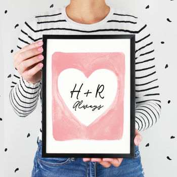 Personalised Watercolour Heart Print For Couples