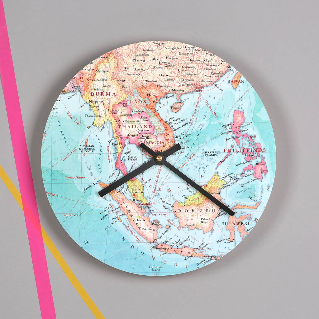 Personalised Map Location Round Wall Clock For
