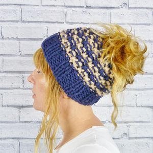 Hand Knitted Messy Bun Hat - women's accessories