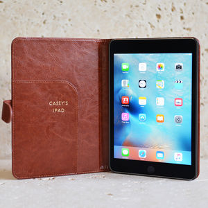 Personalised Leather iPad Mini Case In Black Or Brown