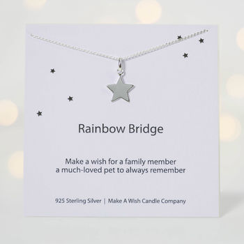 Make A Wish Over Rainbow Bridge Pet Memorial Necklace