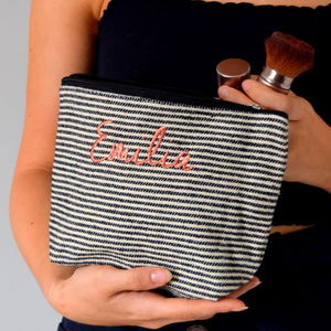 Embroidered Black And Cream Stripe Make Up Bag - make-up bags