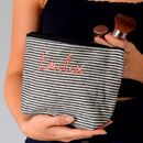 Embroidered Black And Cream Stripe Make Up Bag