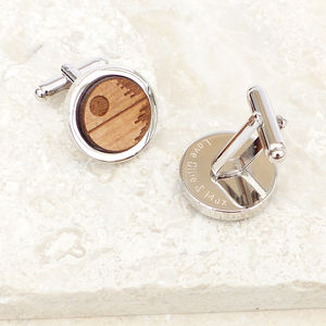 Personalised Wooden Death Star Cufflinks - gifts for geeks