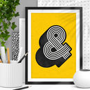 'Ampersand' Black Yellow Typography Print