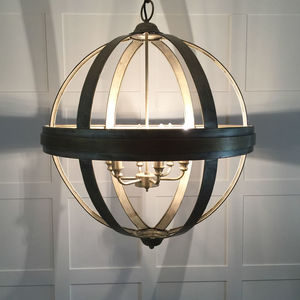 Large Round Metal Antiqued Bronzed Orb Globe - ceiling lights