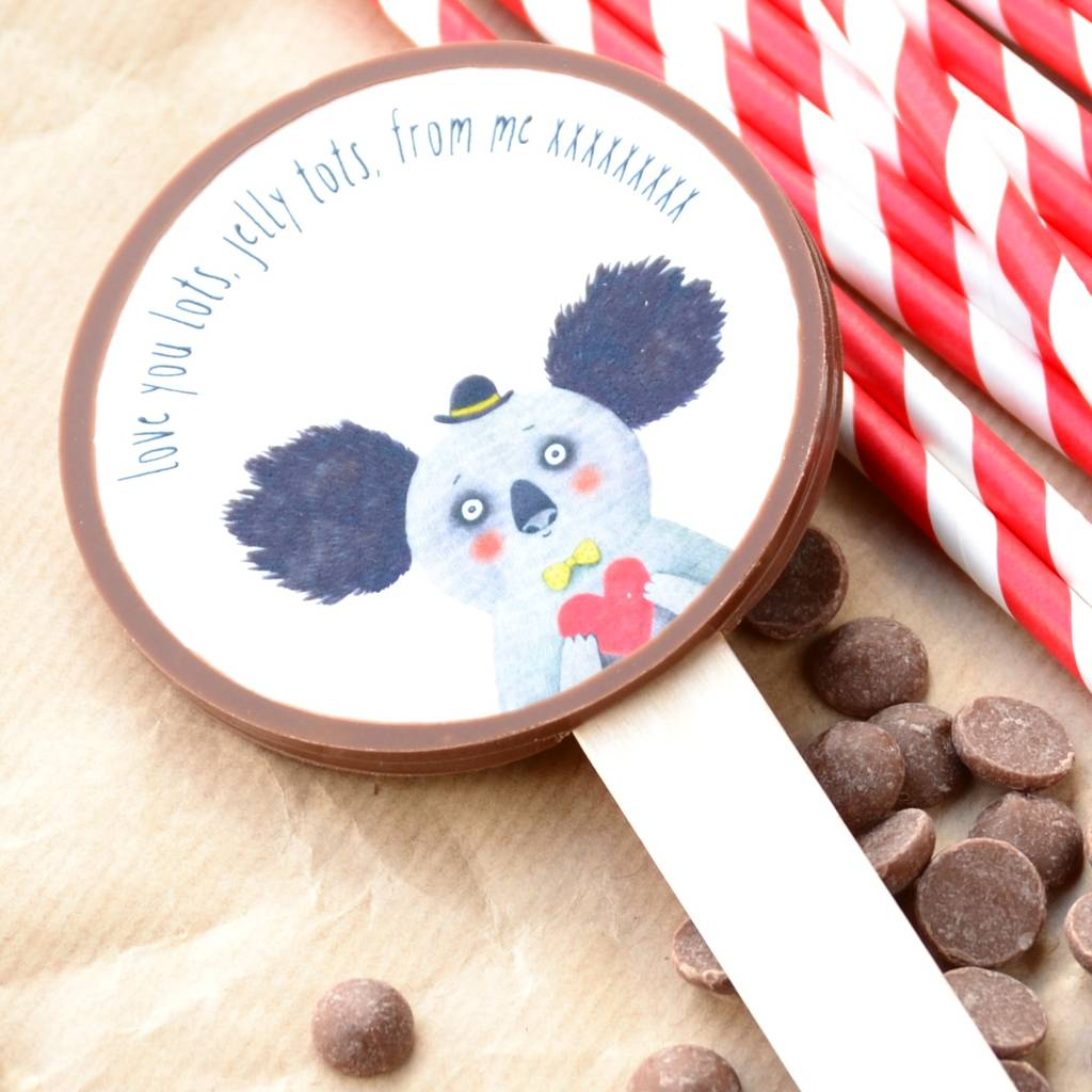Personalised Valentine's Chocolate Lollipop With Koala