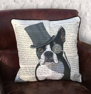 Boston Terrier Cushion, Formal Dog Collection - cushions