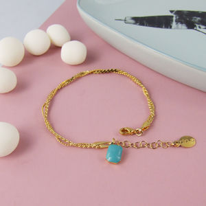 Gold Double Chain Bracelet With Geometric Charm - bracelets & bangles