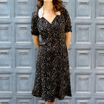 Forties Style Dress In Confetti Heart Print Crepe