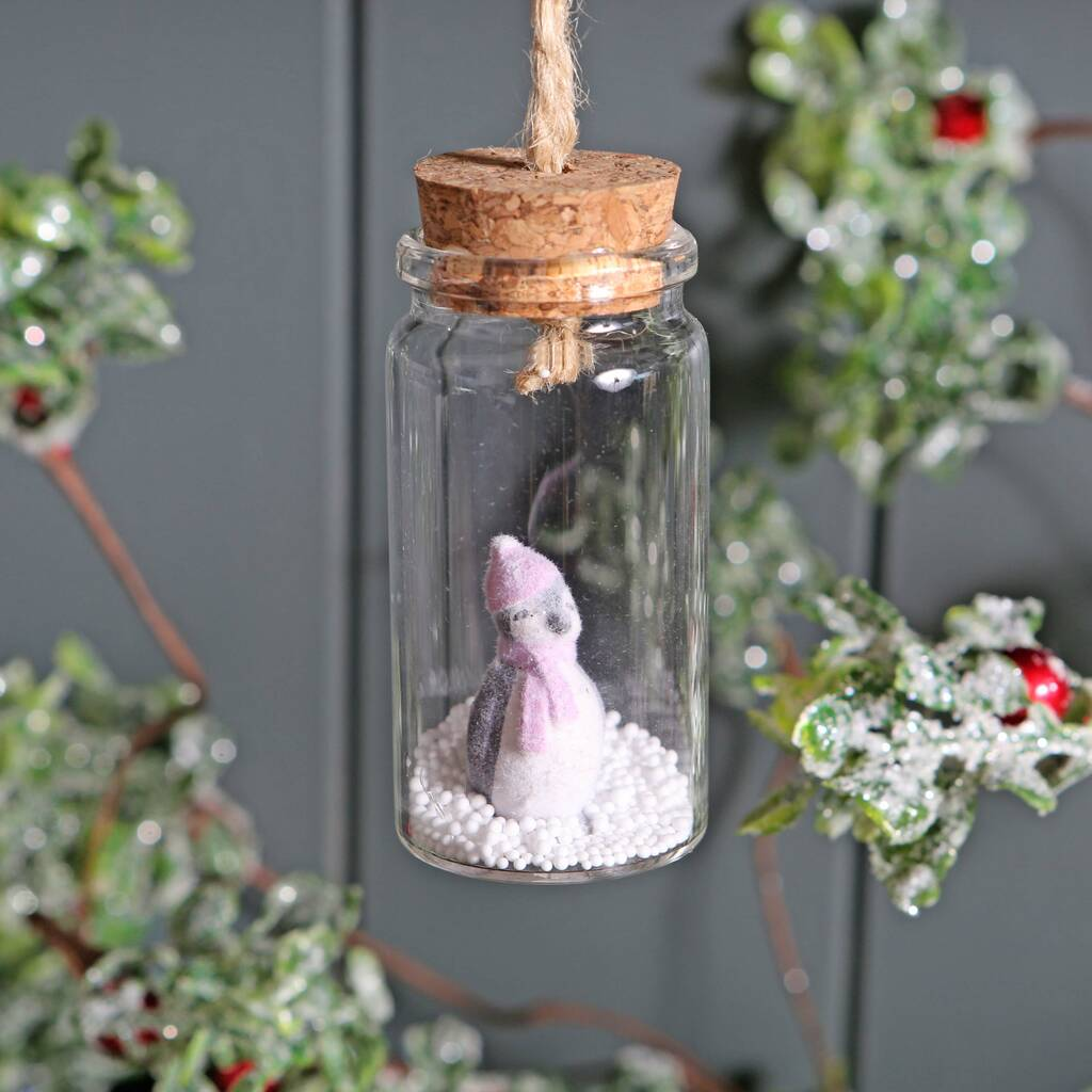 Christmas Penguin In Glass Bottle Tree Decoration By Red ...