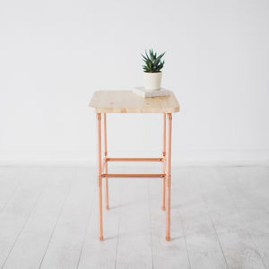 Copper And Pine Bedside Nightstand Table - furniture