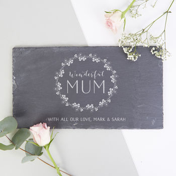 Personalised Mother's Day Gift Slate Serving Board