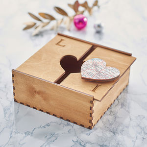Personalised Map Heart Treasured Location Keepsake Box - mens