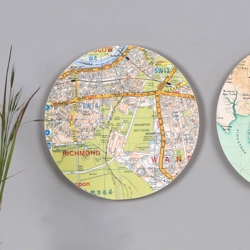 six personalised map wall art circles by bombus | notonthehighstreet.com