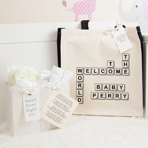 Personalised Scrabble Hospital Bag And First Night Kit