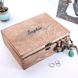 Personalised Wooden Jewellery Box - bedroom