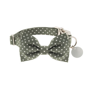 Fennel Green Polka Dot Bow Tie Dog Collar - dogs