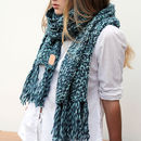 Personalised Monogram Chunky Soft Knitted Tassel Scarf