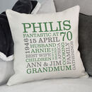 cream cushion - green & grey text
