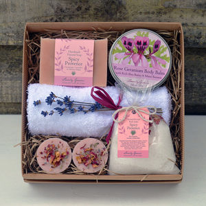A Rose Geranium And Lavender Bath And Beauty Gift Set - bath & body